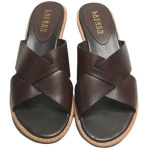Lauren Ralph Lauren Heida Leather Wedge Sandals